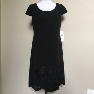 NWT$128 JONES NEW YORK black laser cut Hem dress 6